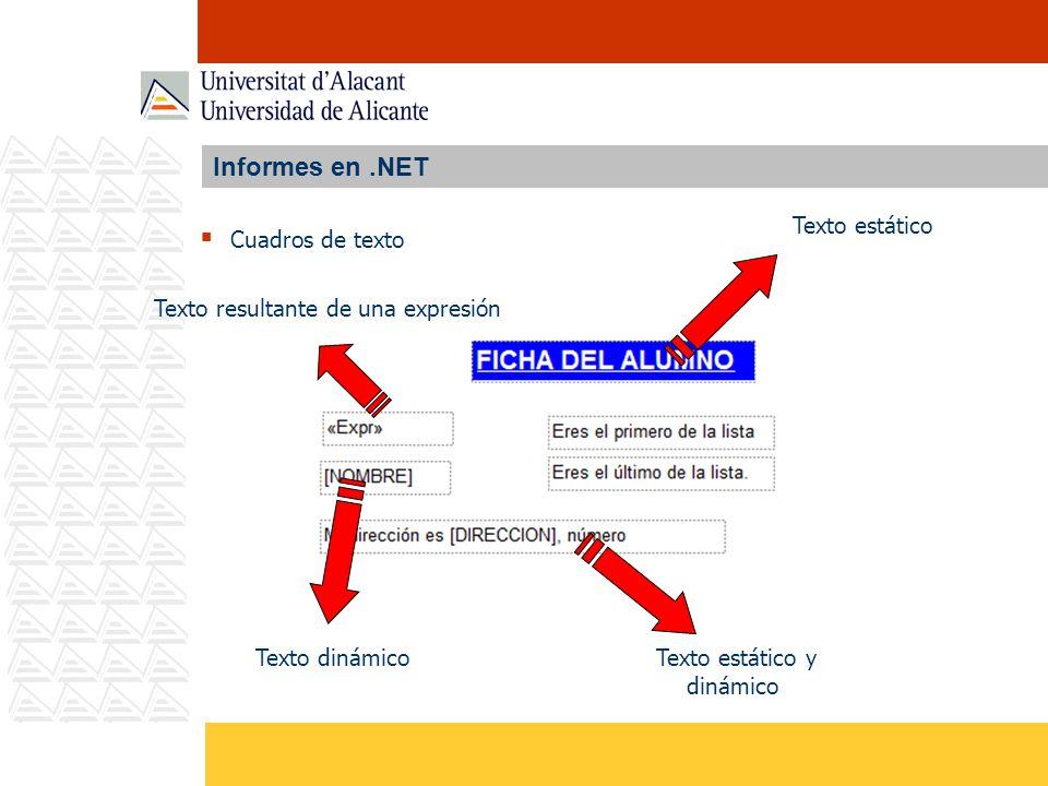 Informes en.NET Cuadros de texto Texto estático Texto dinámicoTexto estático y dinámico Texto resultante de una expresión