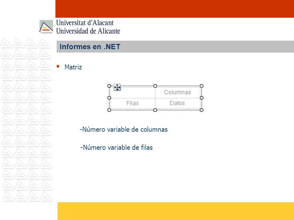 Informes en.NET Matriz -Número variable de columnas -Número variable de filas