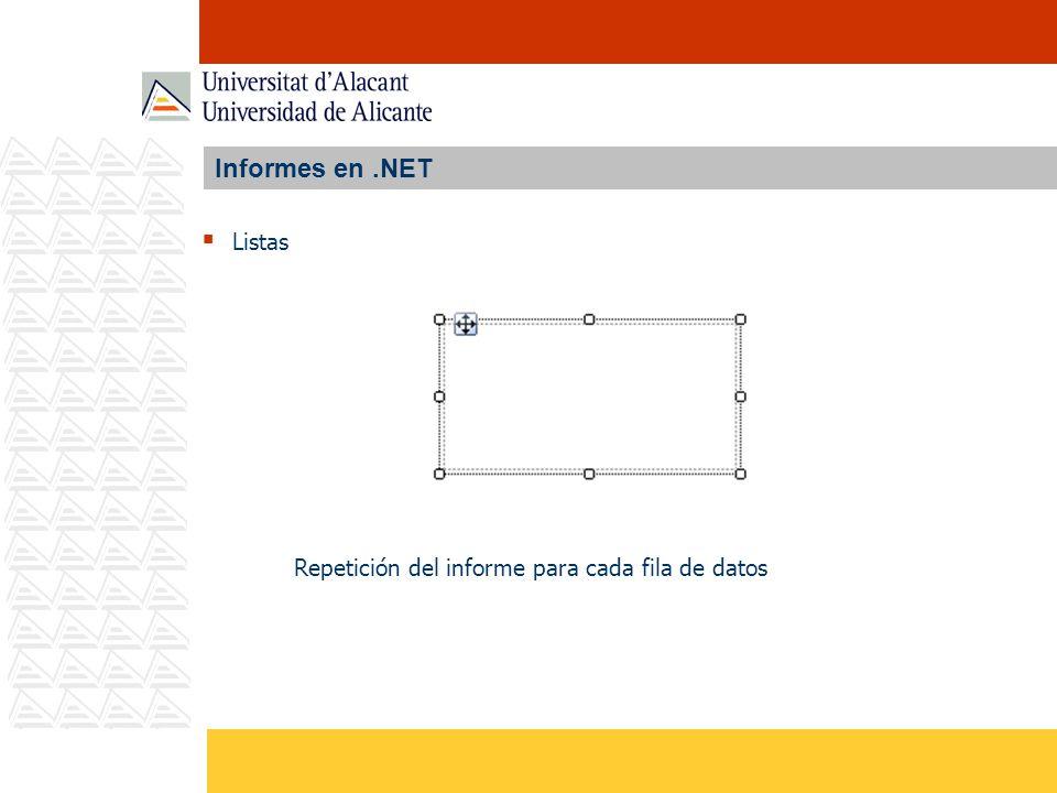 Informes en.NET Listas Repetición del informe para cada fila de datos