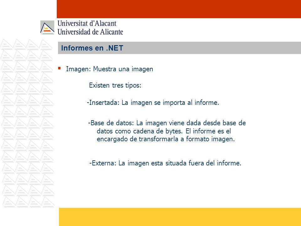 Informes en.NET Imagen: Muestra una imagen -Insertada: La imagen se importa al informe. Existen tres tipos: -Base de datos: La imagen viene dada desde