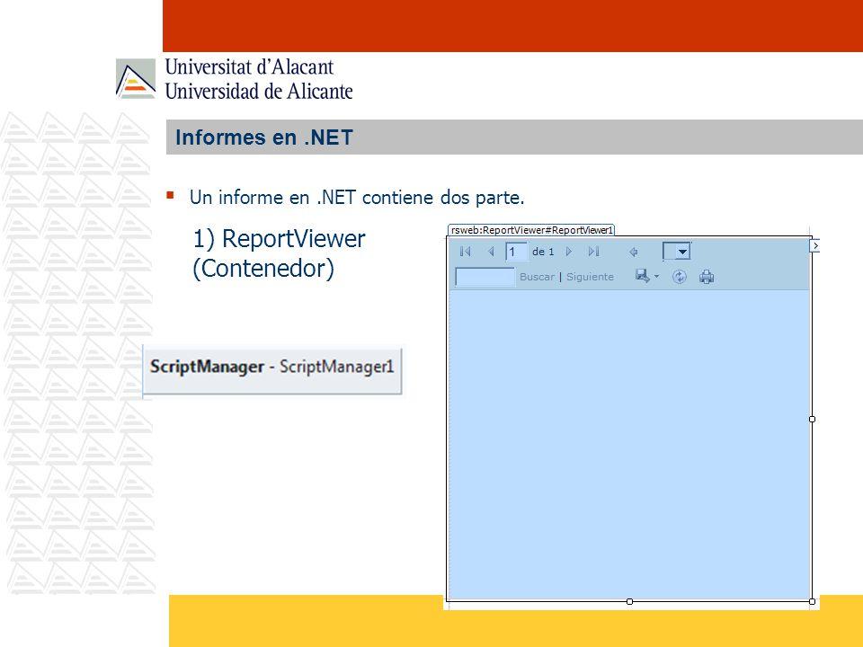 Informes en.NET Un informe en.NET contiene dos parte. 1) ReportViewer (Contenedor)