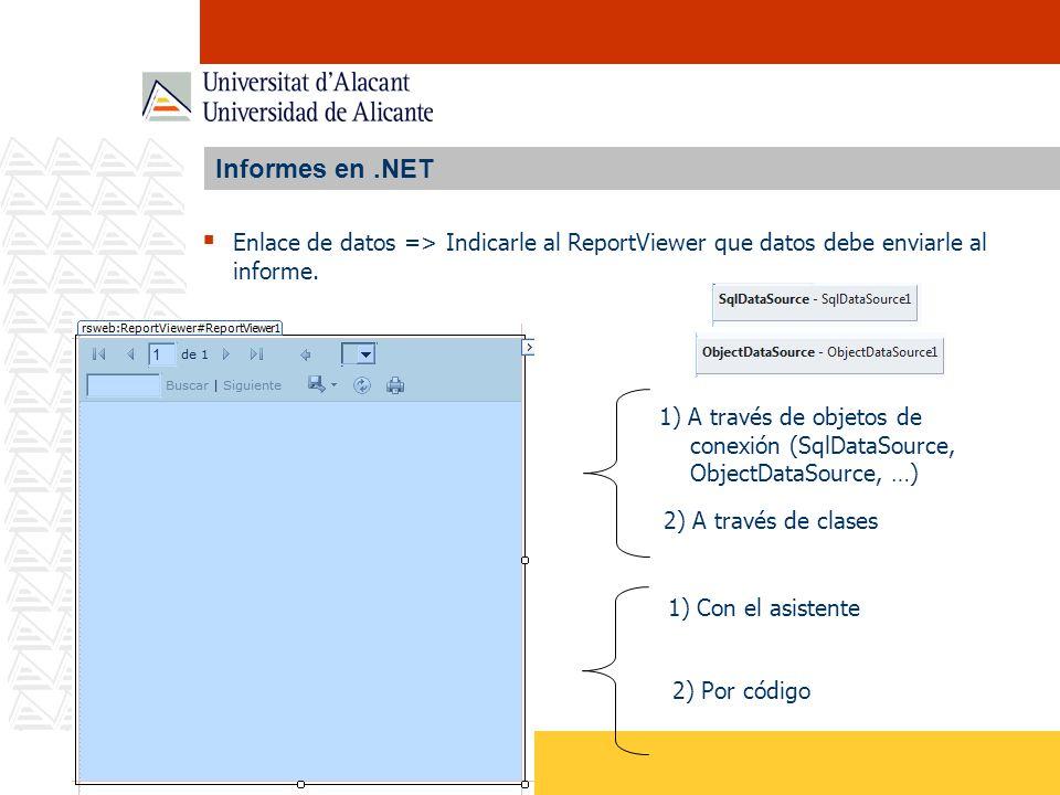 Informes en.NET Enlace de datos => Indicarle al ReportViewer que datos debe enviarle al informe. 1) A través de objetos de conexión (SqlDataSource, Ob