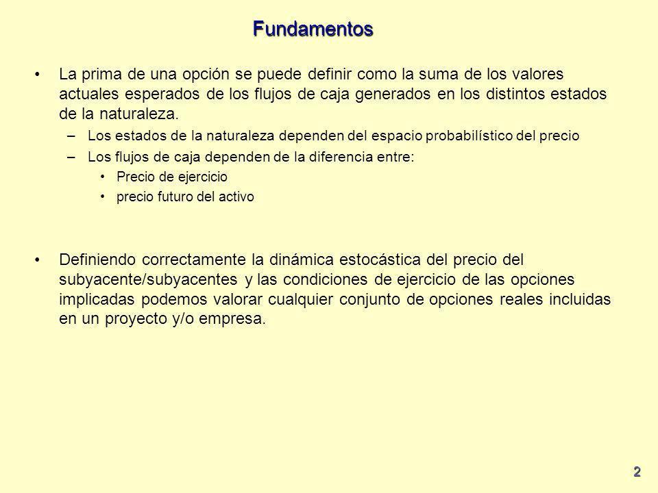 2 Fundamentos La prima de una opción se puede definir como la suma de los valores actuales esperados de los flujos de caja generados en los distintos