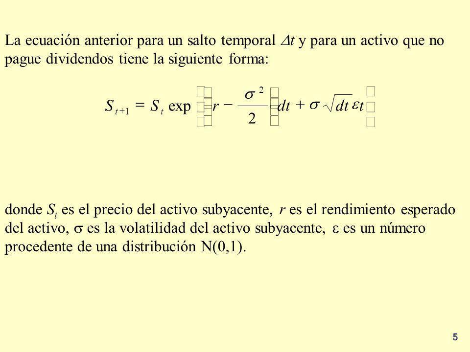 5 La ecuación anterior para un salto temporal t y para un activo que no pague dividendos tiene la siguiente forma: donde S t es el precio del activo s