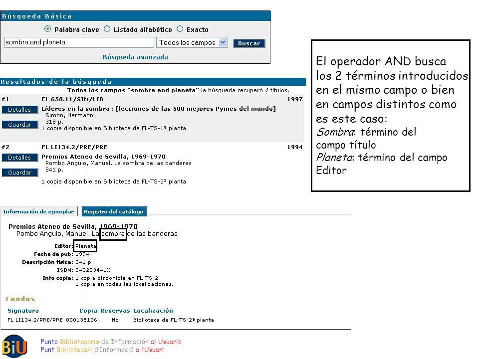 Punto Bibliotecario de Información al Usuario Punt Bibliotecari dInformació a lUsuari El operador AND busca los 2 términos introducidos en el mismo ca