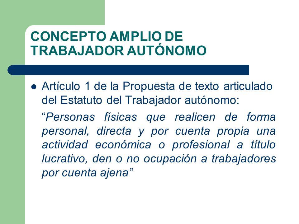 CONCEPTO AMPLIO DE TRABAJADOR AUTÓNOMO Artículo 1 de la Propuesta de texto articulado del Estatuto del Trabajador autónomo: Personas físicas que reali