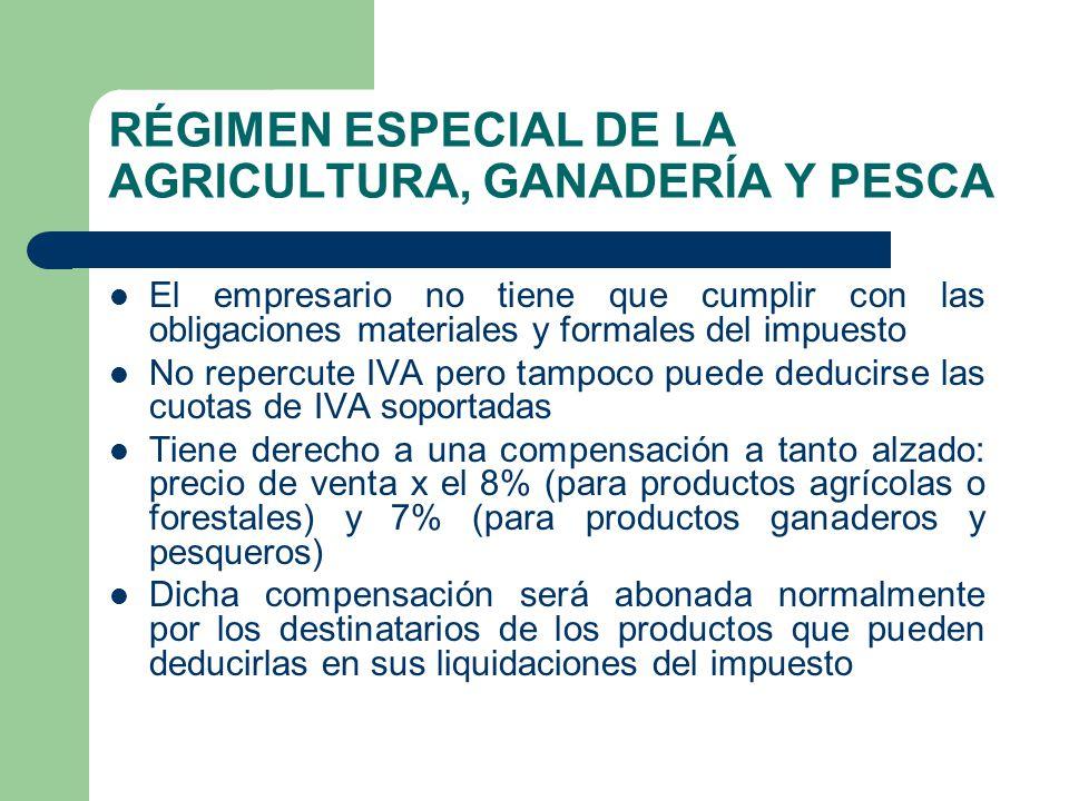 RÉGIMEN ESPECIAL DE LA AGRICULTURA, GANADERÍA Y PESCA El empresario no tiene que cumplir con las obligaciones materiales y formales del impuesto No re
