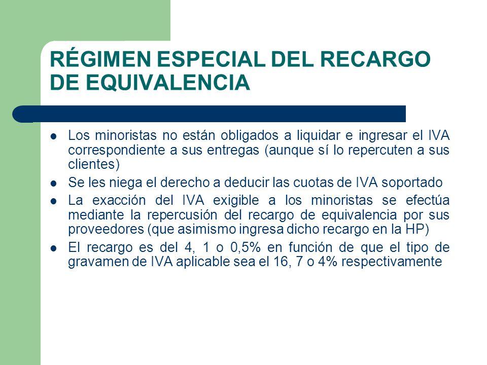 RÉGIMEN ESPECIAL DEL RECARGO DE EQUIVALENCIA Los minoristas no están obligados a liquidar e ingresar el IVA correspondiente a sus entregas (aunque sí