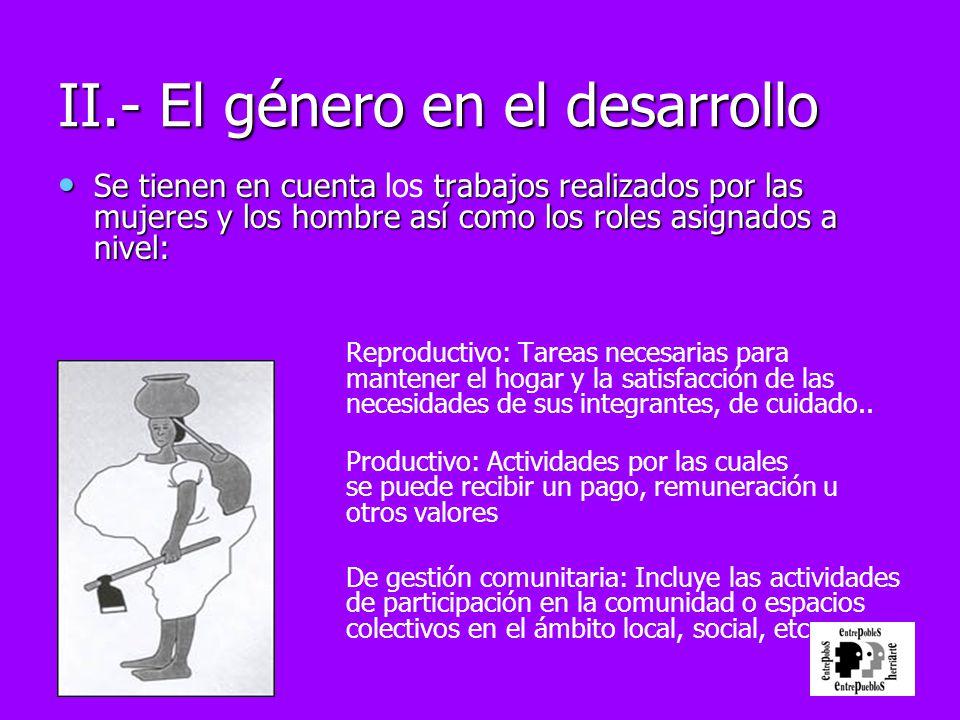 II.- El género en el desarrollo Se tienen en cuenta trabajos realizados por las mujeres y los hombre así como los roles asignados a nivel: Se tienen e