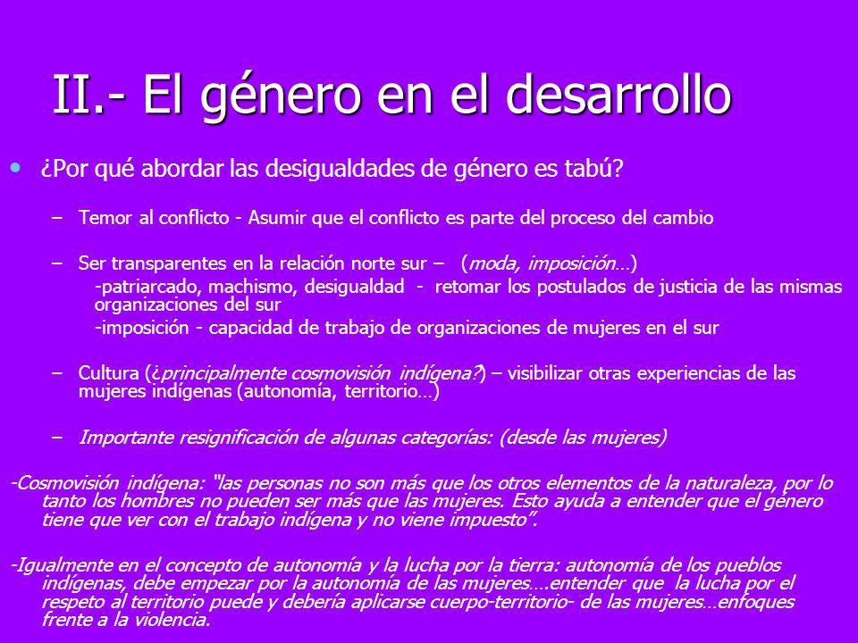 II.- El género en el desarrollo ¿Por qué abordar las desigualdades de género es tabú? – –Temor al conflicto - Asumir que el conflicto es parte del pro