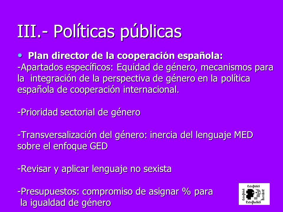 Plan director de la cooperación española: Plan director de la cooperación española: -Apartados específicos: Equidad de género, mecanismos para la inte