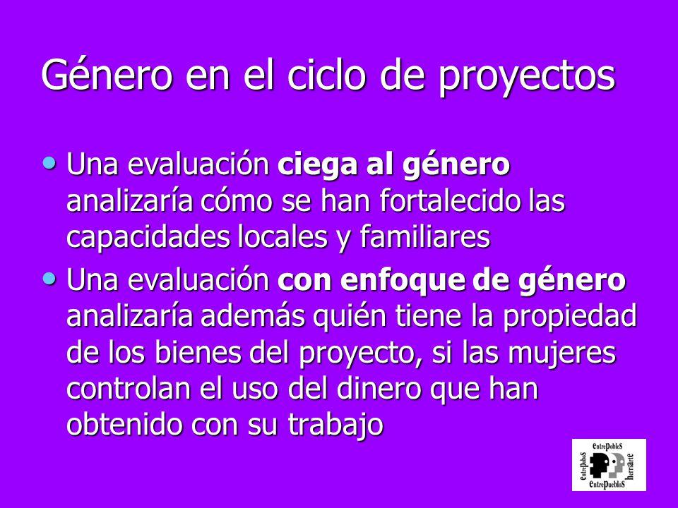 Género en el ciclo de proyectos Una evaluación ciega al género analizaría cómo se han fortalecido las capacidades locales y familiares Una evaluación