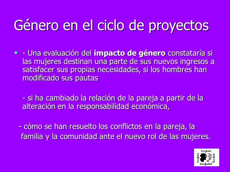 Género en el ciclo de proyectos - Una evaluación del impacto de género constataría si las mujeres destinan una parte de sus nuevos ingresos a satisfac