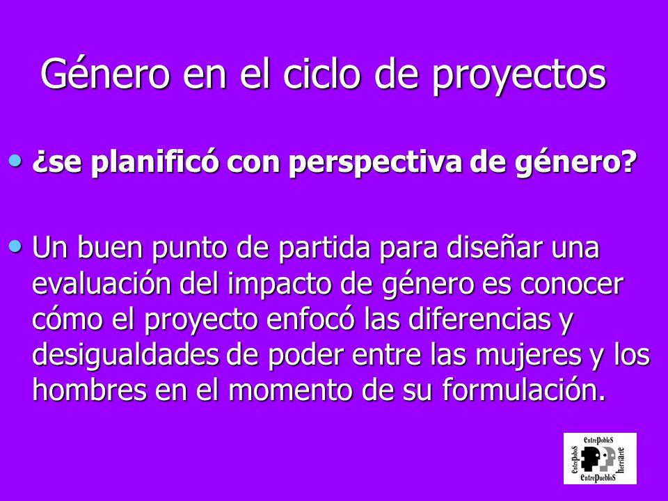 Género en el ciclo de proyectos ¿se planificó con perspectiva de género? ¿se planificó con perspectiva de género? Un buen punto de partida para diseña