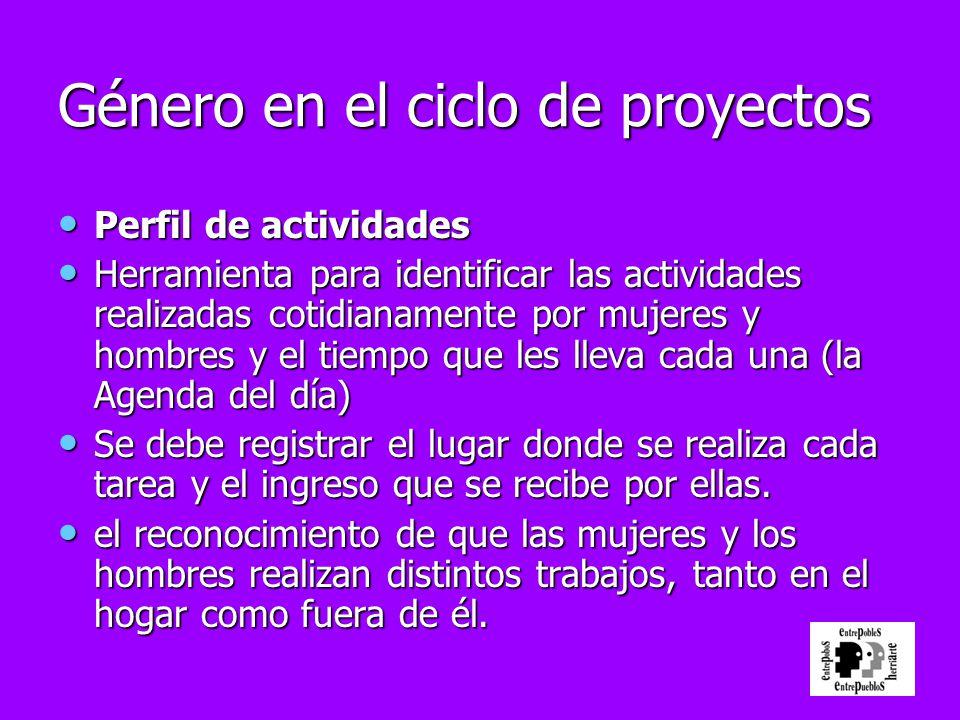 Género en el ciclo de proyectos Perfil de actividades Perfil de actividades Herramienta para identificar las actividades realizadas cotidianamente por