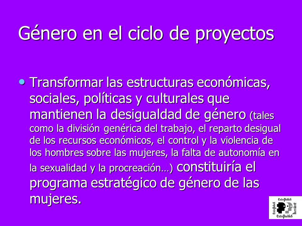 Género en el ciclo de proyectos Transformar las estructuras económicas, sociales, políticas y culturales que mantienen la desigualdad de género (tales