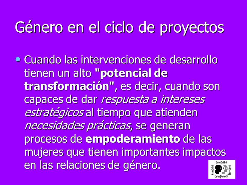 Género en el ciclo de proyectos Cuando las intervenciones de desarrollo tienen un alto