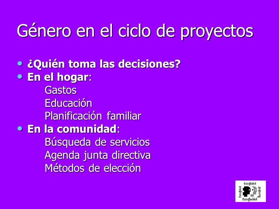 Género en el ciclo de proyectos ¿Quién toma las decisiones? ¿Quién toma las decisiones? En el hogar: En el hogar:GastosEducación Planificación familia