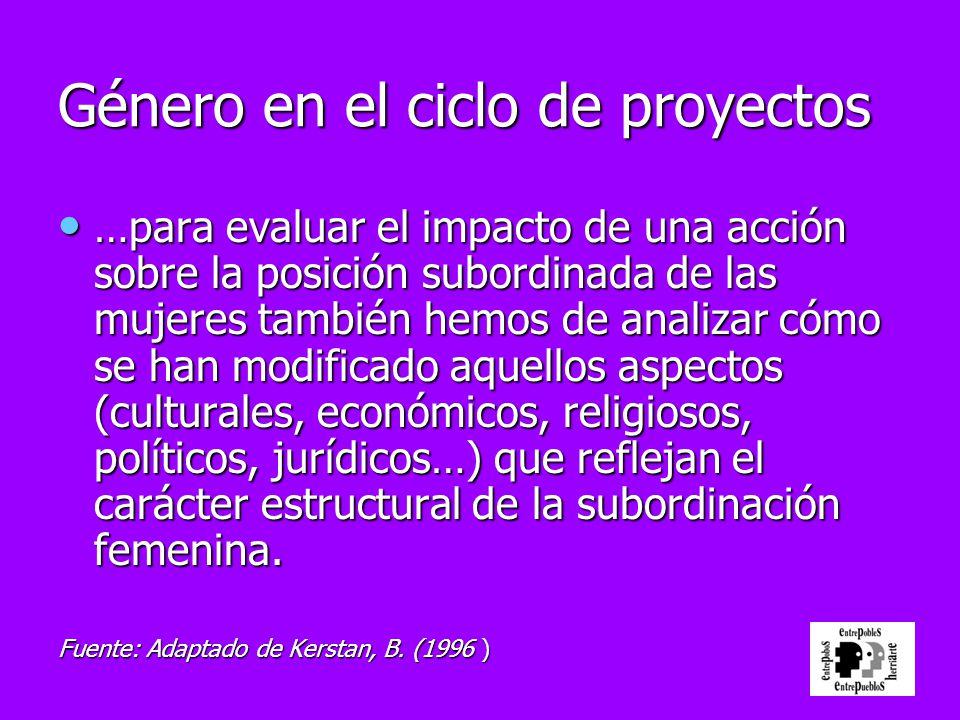 Género en el ciclo de proyectos …para evaluar el impacto de una acción sobre la posición subordinada de las mujeres también hemos de analizar cómo se