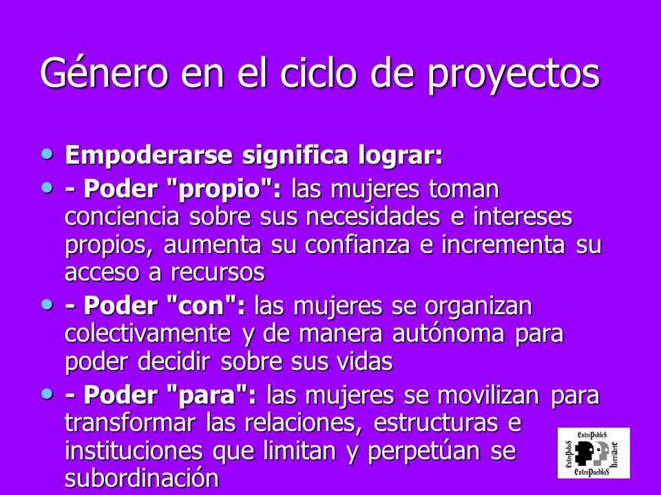 Género en el ciclo de proyectos Empoderarse significa lograr: Empoderarse significa lograr: - Poder