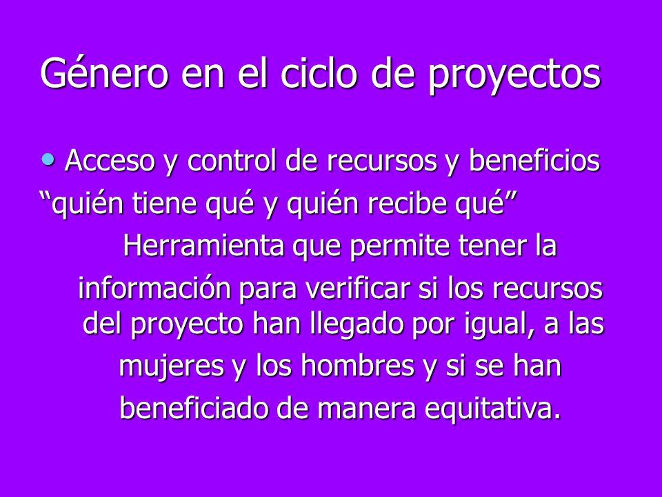 Género en el ciclo de proyectos Acceso y control de recursos y beneficios Acceso y control de recursos y beneficios quién tiene qué y quién recibe qué