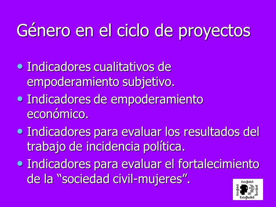 Género en el ciclo de proyectos Indicadores cualitativos de empoderamiento subjetivo. Indicadores cualitativos de empoderamiento subjetivo. Indicadore