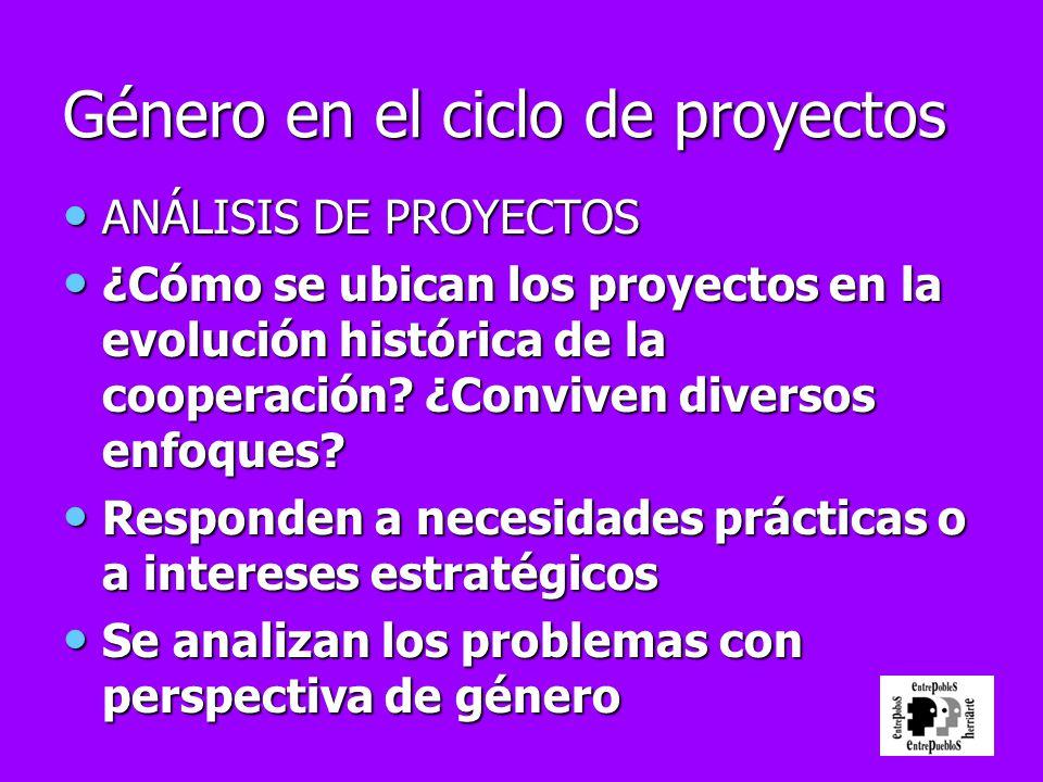 Género en el ciclo de proyectos ANÁLISIS DE PROYECTOS ANÁLISIS DE PROYECTOS ¿Cómo se ubican los proyectos en la evolución histórica de la cooperación?
