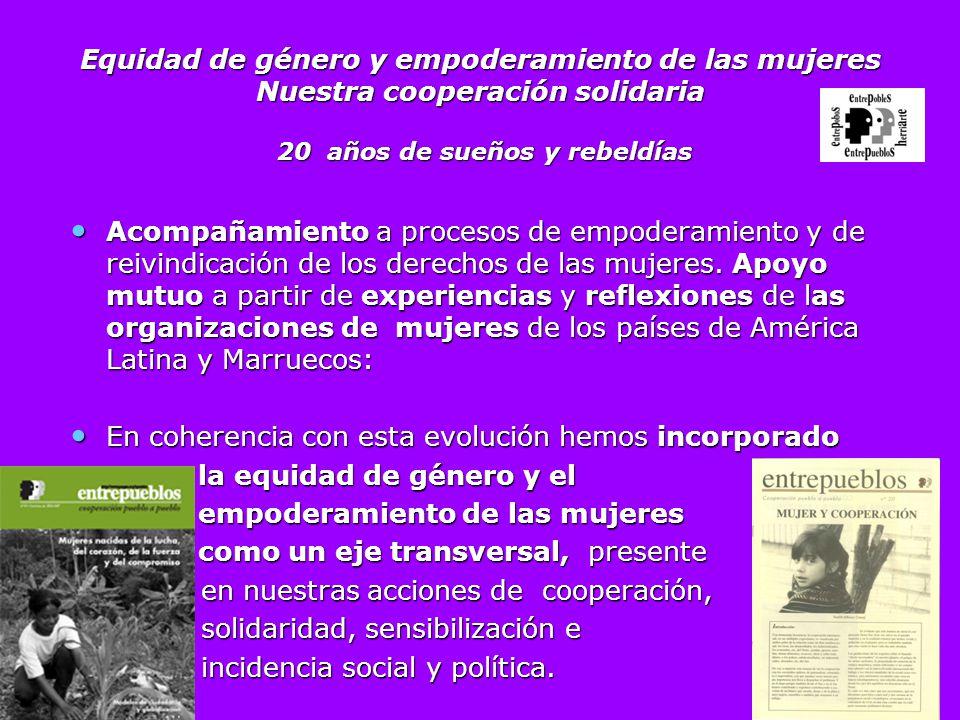 Equidad de género y empoderamiento de las mujeres Nuestra cooperación solidaria 20 años de sueños y rebeldías Acompañamiento a procesos de empoderamie