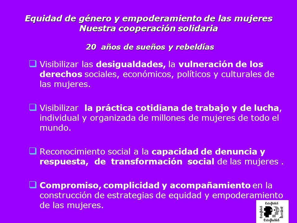 Equidad de género y empoderamiento de las mujeres Nuestra cooperación solidaria 20 años de sueños y rebeldías Visibilizar las desigualdades, la vulner