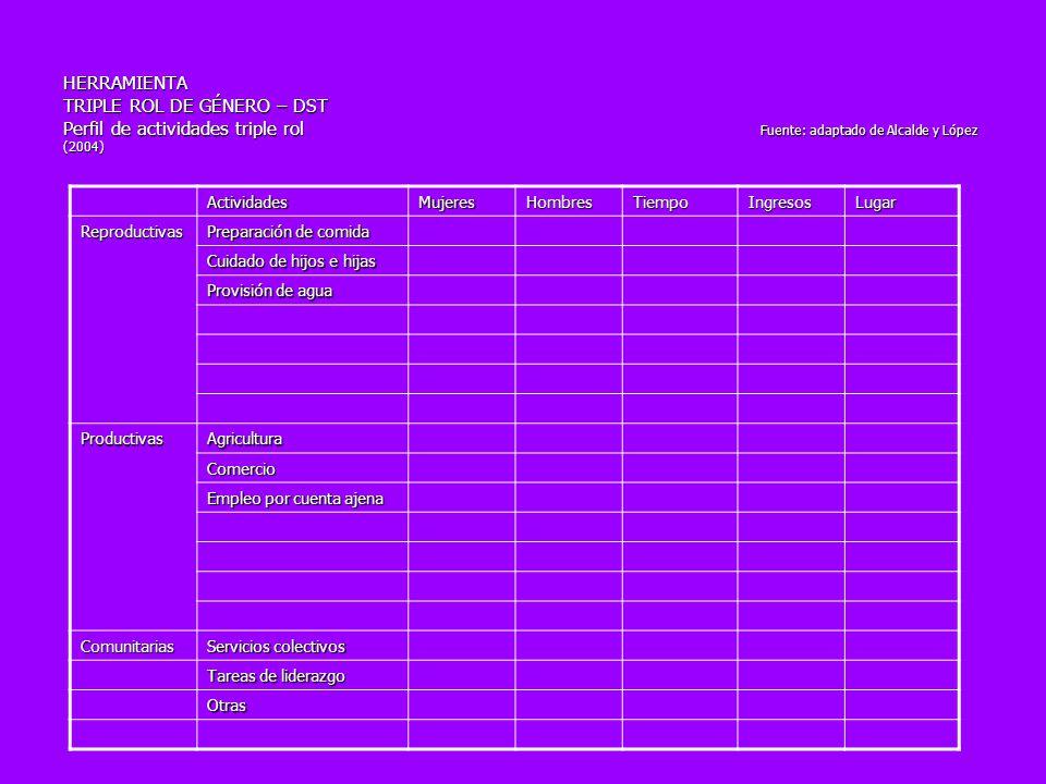 HERRAMIENTA TRIPLE ROL DE GÉNERO – DST Perfil de actividades triple rol Fuente: adaptado de Alcalde y López (2004) ActividadesMujeresHombresTiempoIngr