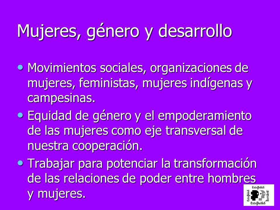 Mujeres, género y desarrollo Movimientos sociales, organizaciones de mujeres, feministas, mujeres indígenas y campesinas. Movimientos sociales, organi