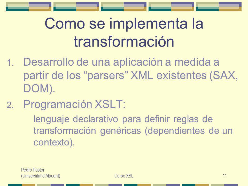 Pedro Pastor (Universitat d Alacant)Curso XSL11 Como se implementa la transformación 1.