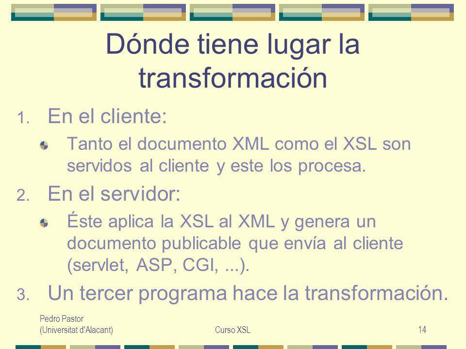 Pedro Pastor (Universitat d Alacant)Curso XSL14 Dónde tiene lugar la transformación 1.