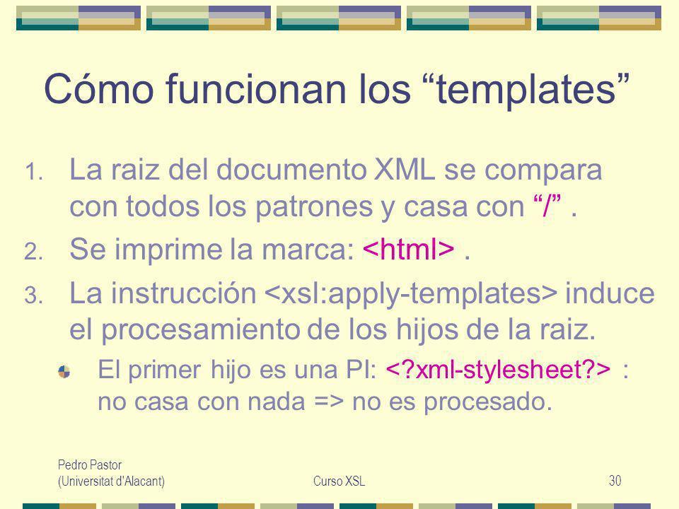 Pedro Pastor (Universitat d Alacant)Curso XSL30 Cómo funcionan los templates 1.