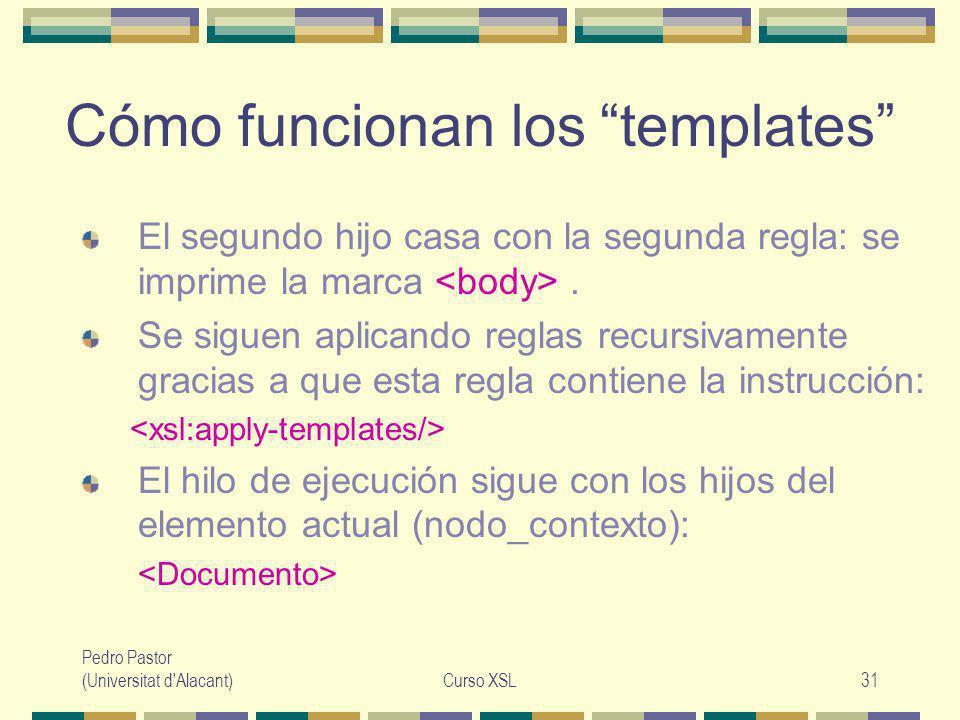 Pedro Pastor (Universitat d Alacant)Curso XSL31 Cómo funcionan los templates El segundo hijo casa con la segunda regla: se imprime la marca.