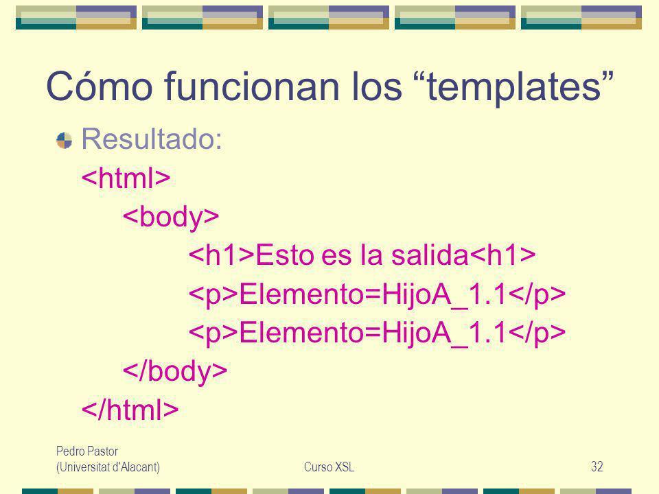 Pedro Pastor (Universitat d Alacant)Curso XSL32 Cómo funcionan los templates Resultado: Esto es la salida Elemento=HijoA_1.1