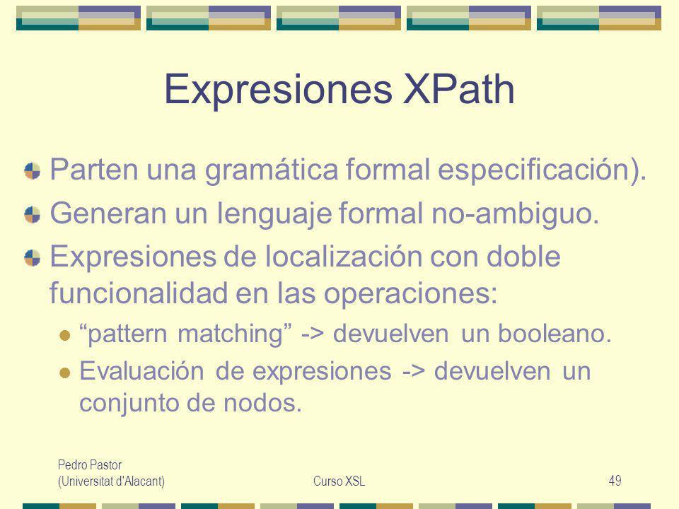Pedro Pastor (Universitat d Alacant)Curso XSL49 Expresiones XPath Parten una gramática formal especificación).