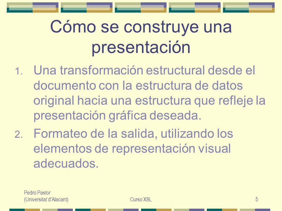 Pedro Pastor (Universitat d Alacant)Curso XSL36 Regla por defecto para elementos Situación: no queremos procesar un elemento pero si algunos de sus hijos.