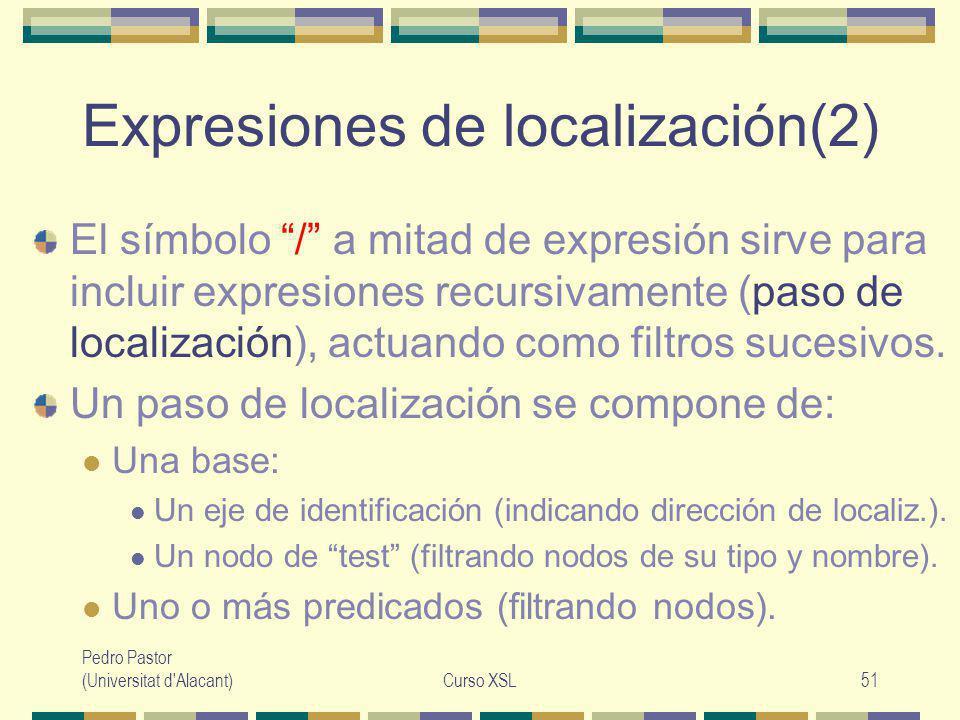 Pedro Pastor (Universitat d Alacant)Curso XSL51 Expresiones de localización(2) El símbolo / a mitad de expresión sirve para incluir expresiones recursivamente (paso de localización), actuando como filtros sucesivos.