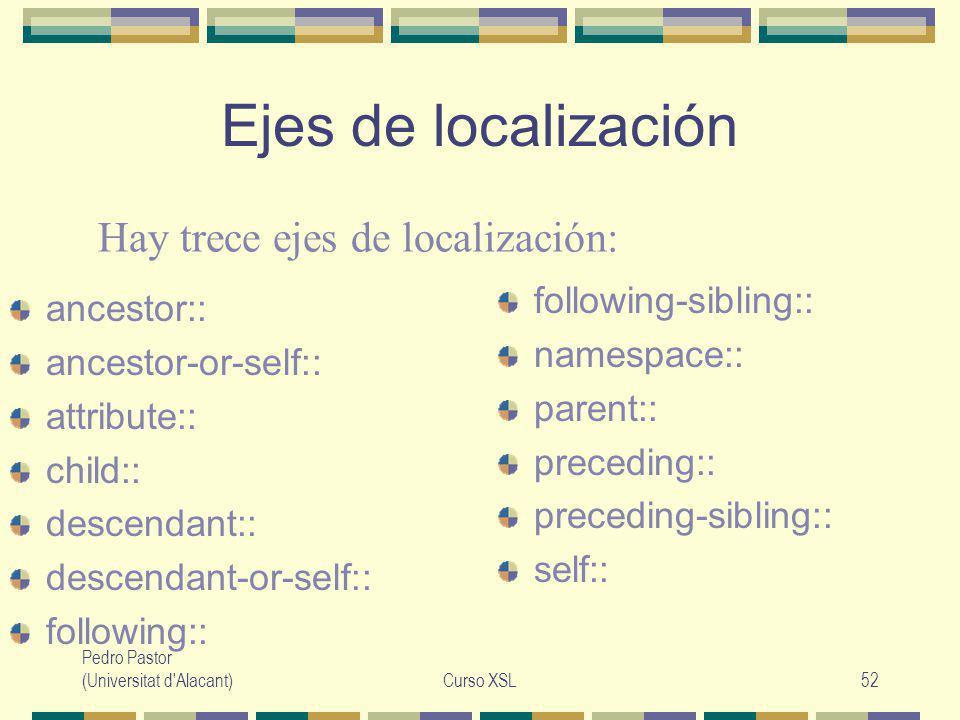 Pedro Pastor (Universitat d Alacant)Curso XSL52 Ejes de localización ancestor:: ancestor-or-self:: attribute:: child:: descendant:: descendant-or-self:: following:: following-sibling:: namespace:: parent:: preceding:: preceding-sibling:: self:: Hay trece ejes de localización: