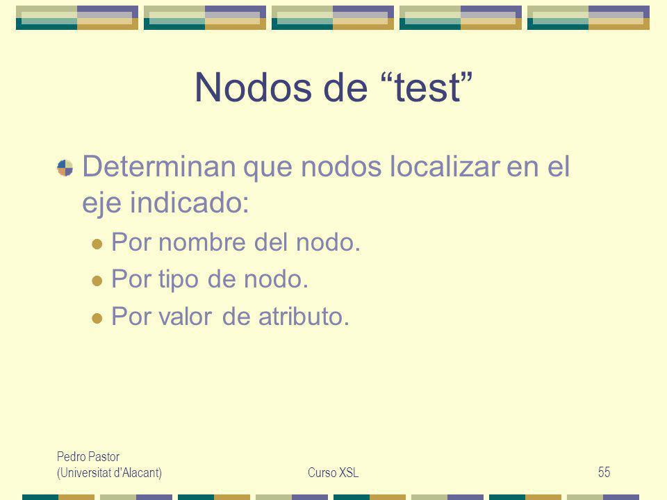 Pedro Pastor (Universitat d Alacant)Curso XSL55 Nodos de test Determinan que nodos localizar en el eje indicado: Por nombre del nodo.