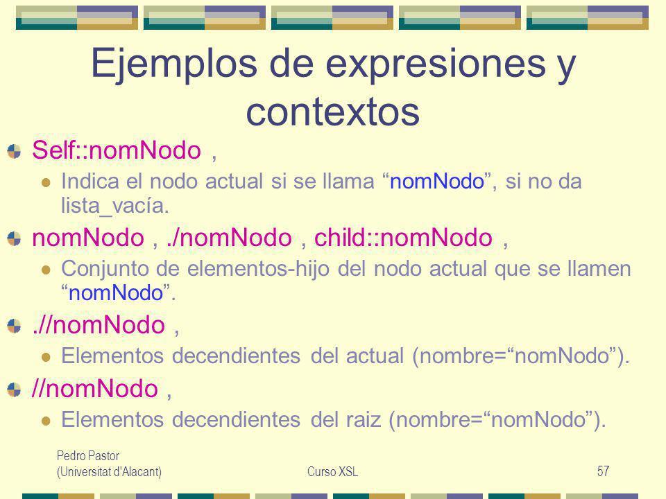 Pedro Pastor (Universitat d Alacant)Curso XSL57 Ejemplos de expresiones y contextos Self::nomNodo, Indica el nodo actual si se llama nomNodo, si no da lista_vacía.