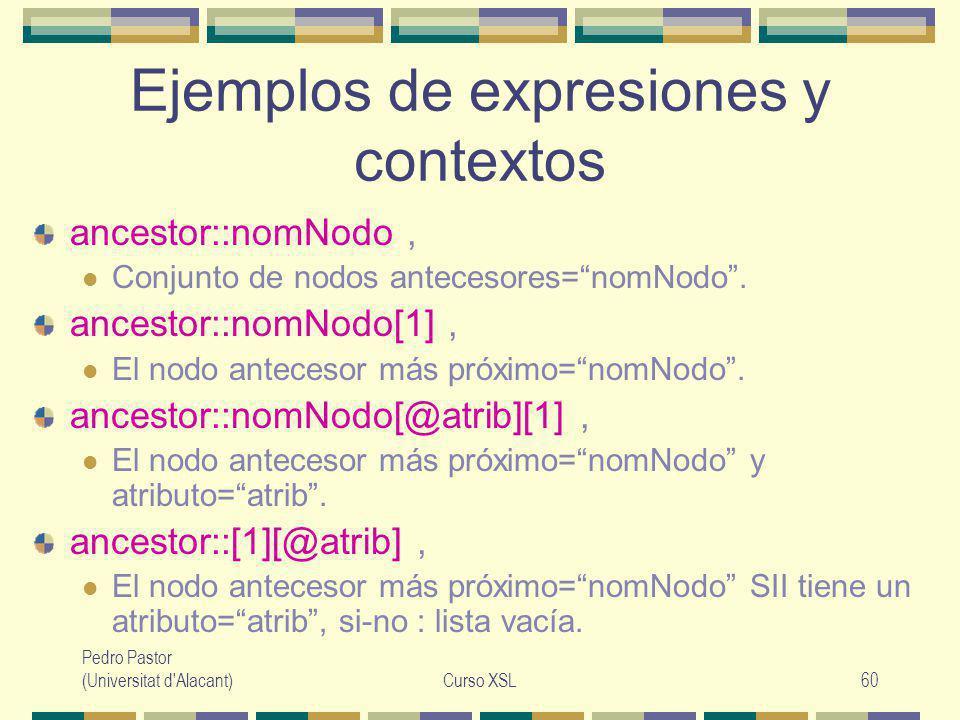 Pedro Pastor (Universitat d Alacant)Curso XSL60 Ejemplos de expresiones y contextos ancestor::nomNodo, Conjunto de nodos antecesores=nomNodo.