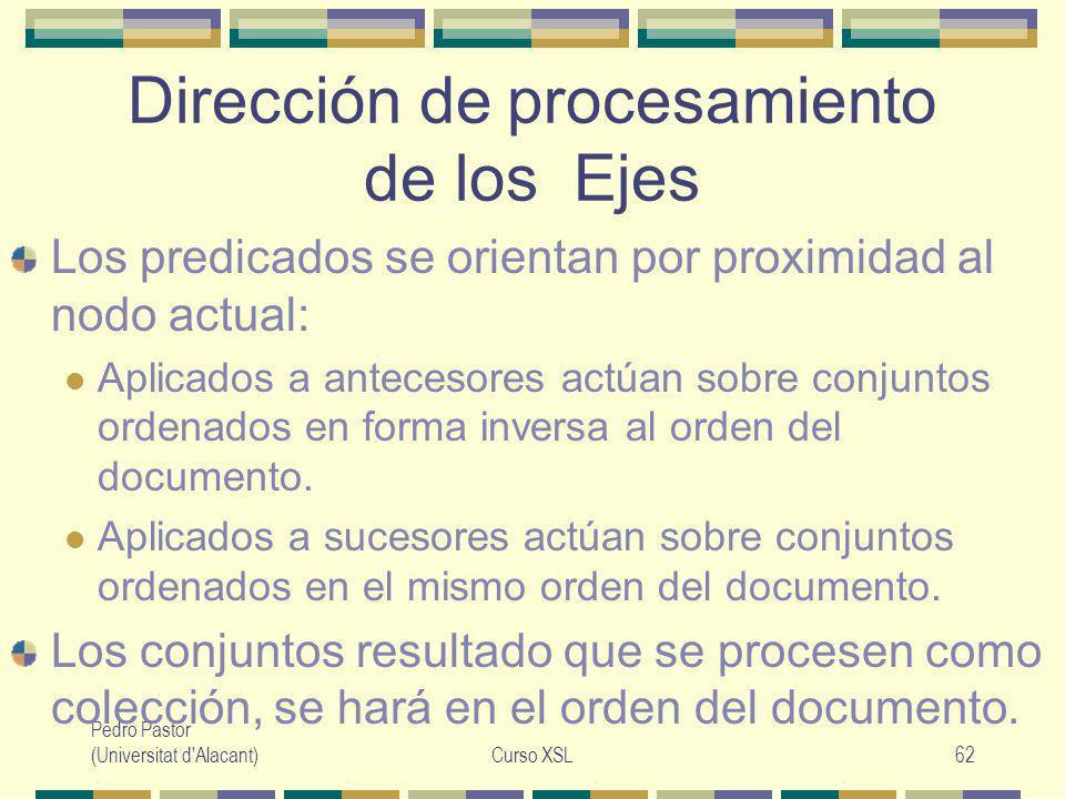 Pedro Pastor (Universitat d Alacant)Curso XSL62 Dirección de procesamiento de los Ejes Los predicados se orientan por proximidad al nodo actual: Aplicados a antecesores actúan sobre conjuntos ordenados en forma inversa al orden del documento.