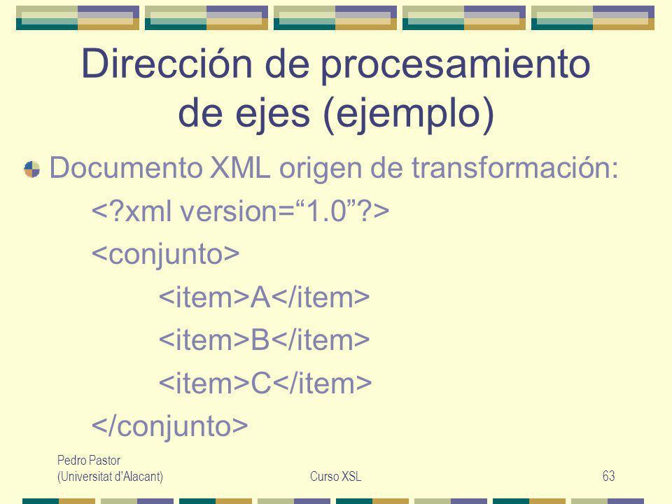 Pedro Pastor (Universitat d Alacant)Curso XSL63 Dirección de procesamiento de ejes (ejemplo) Documento XML origen de transformación: A B C