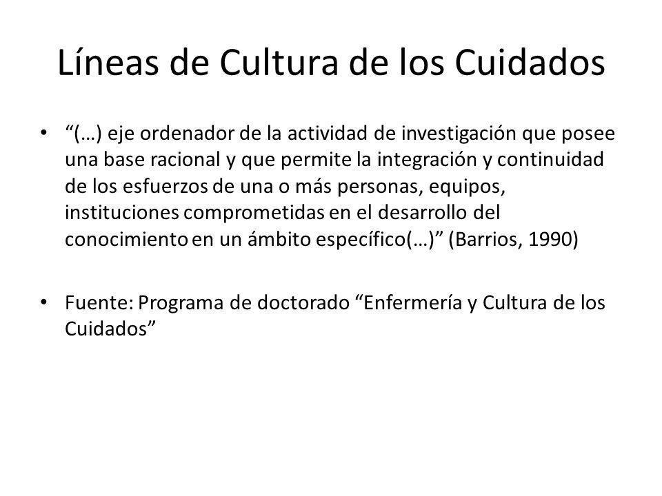Líneas de Cultura de los Cuidados (…) eje ordenador de la actividad de investigación que posee una base racional y que permite la integración y contin
