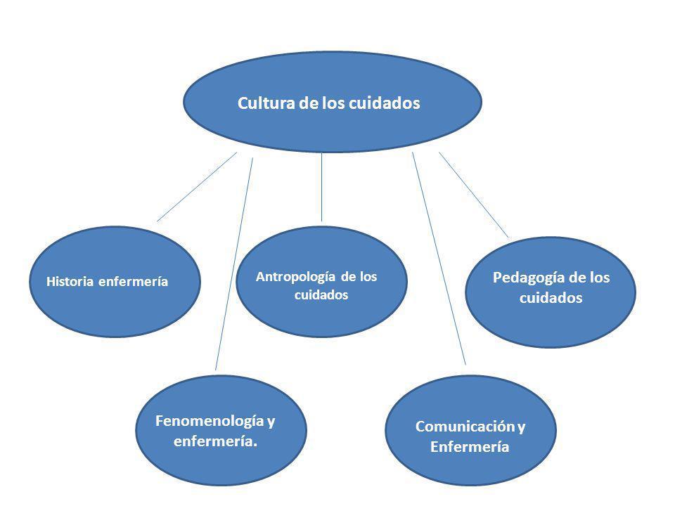 Cultura de los cuidados Historia enfermería Antropología de los cuidados Pedagogía de los cuidados Fenomenología y enfermería. Comunicación y Enfermer