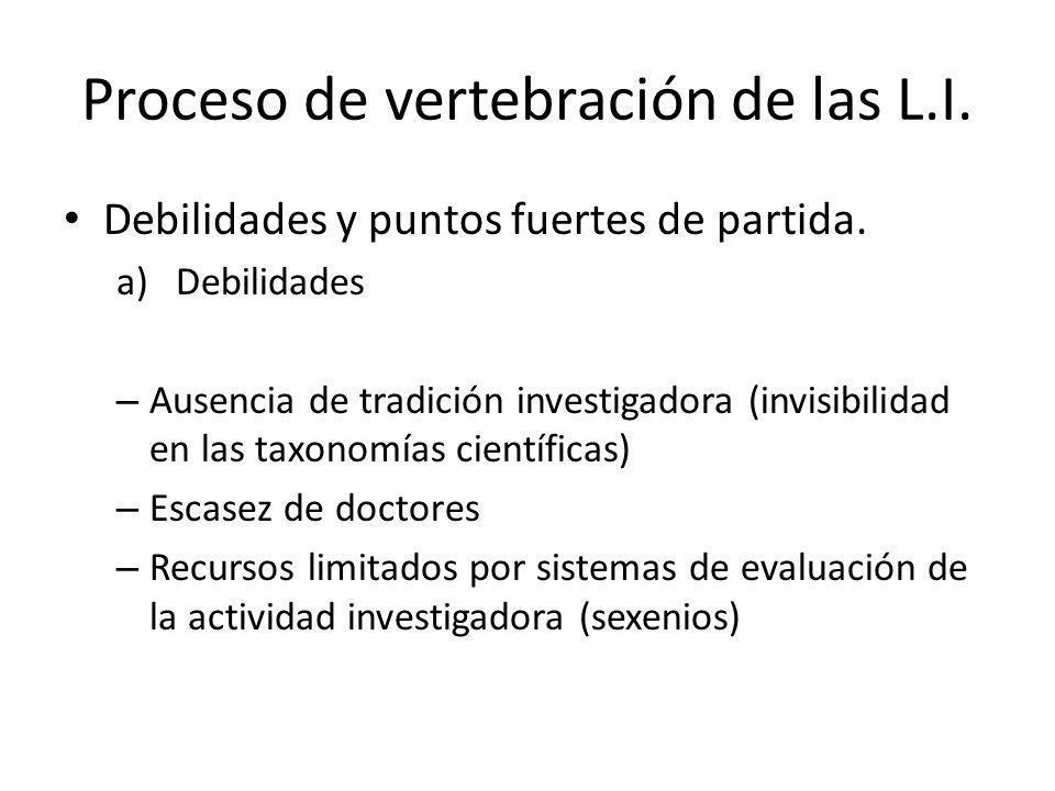 Proceso de vertebración de las L.I.Debilidades y puntos fuertes de partida.