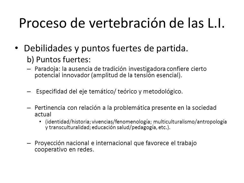 Proceso de vertebración de las L.I. Debilidades y puntos fuertes de partida. b) Puntos fuertes: – Paradoja: la ausencia de tradición investigadora con