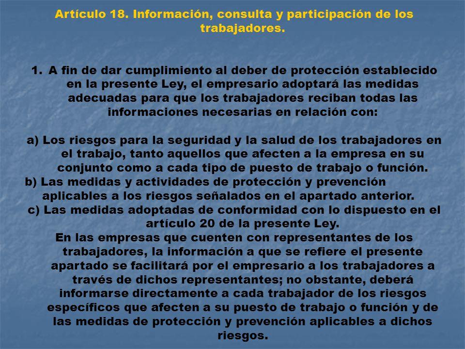 Artículo 18. Información, consulta y participación de los trabajadores.